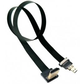 90 Degree HDMI - Straight Micro HDMI FPV Flat Cable 15cm